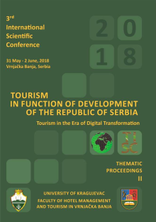 The Third International Scientific Conference, TOURISM IN FUNCTION OF DEVELOPMENT OF THE REPUBLIC OF SERBIA - Tourism in the Era of Digital Transformation, Thematic Proceedings II